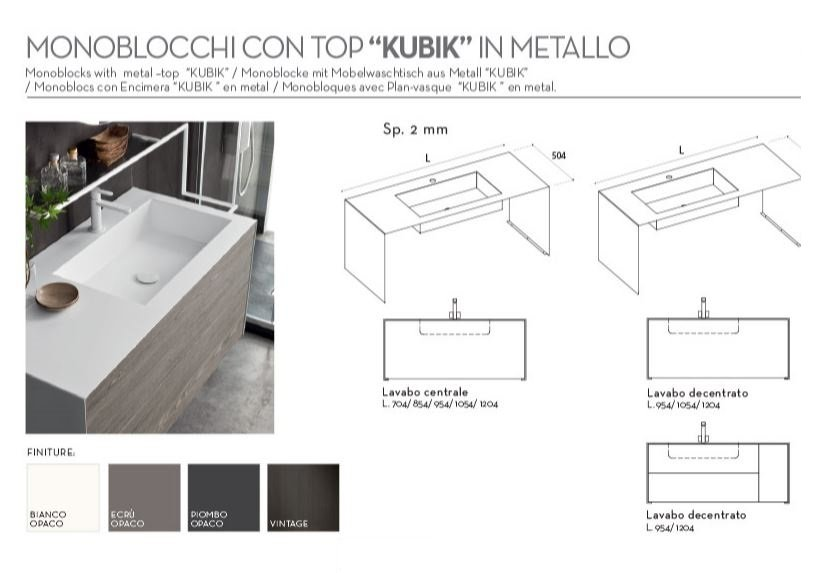 Mobile Bagno Lavabo Decentrato.Mobile Sospeso Ardeco Start Line Top Kubik Metallo Borgoceramica Bologna